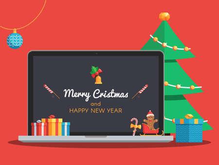 메리 크리스마스와 행복 한 새 해 레터링 화면에 노트북. 선물 상자, 사탕, 공, 벨 및 크리스마스 트리. 인사말 텍스트와 함께 크리스마스 배너입니다.