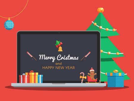 Laptop with Merry Christmas and Happy New Year lettering on the screen. Gift boxes, candy, ball, bell and Christmas tree. Christmas banner with greeting text. Flat style vector concept holiday illustration Çizim