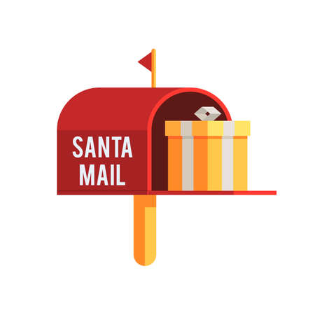 Christmas outdoor mailbox with gift box. Holiday mail a letter to Santa Claus. Christmas flat vector illustration icon for web design or greeting card Çizim
