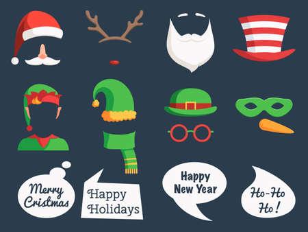 크리스마스 장식 컬렉션 얼굴 마스크 실루엣 및 연설 거품, 소품 및 귀여운 사진 오버레이 잘라. 산타 모자, 수염, 안경, 뿔, 마스크, 거품을 이야기. 벡