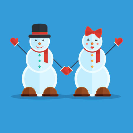 greet: Couple of snowmen greet the winter. Pair of boy and girl. Vector illustration in trendy design on blue background for publications and promotional materials