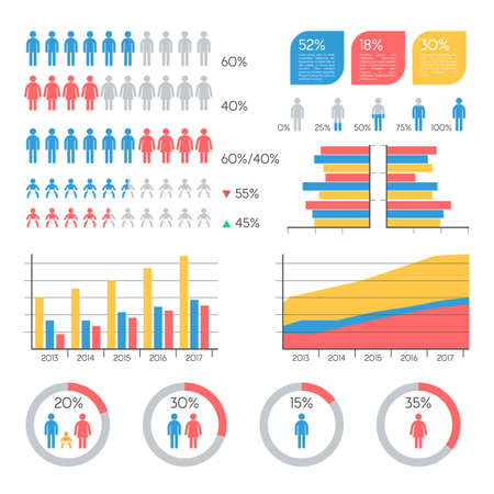 demographics: Human infographic vector illustration. Statistics Demographics, families and infants info elements set. Vector Illustration template for presentation Information Graphics