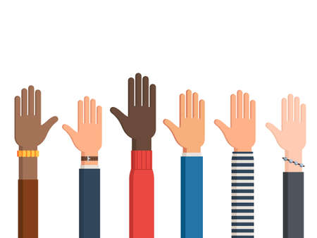 Different human rights hands and one left hand with sleeves and accessories palm up. Vector illustration isolated on white background Çizim