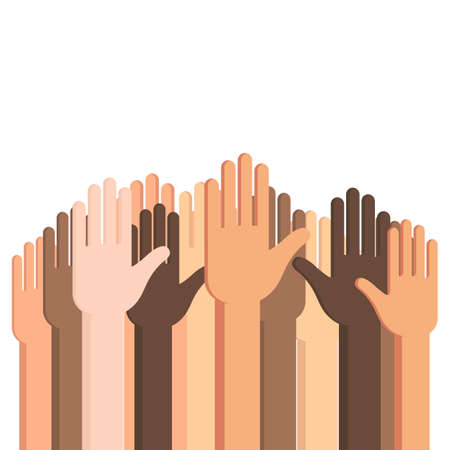 Many Human hands up with outstretched palm. Conceptual vector illustration isolated on white background for web design banner or print card