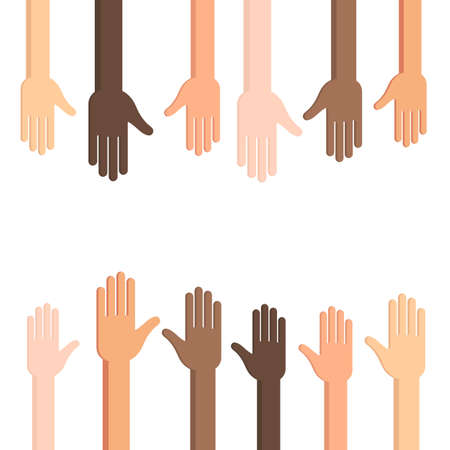 Many Human hands with outstretched palm. Conceptual vector illustration isolated on white background for web design banner or print card Illustration