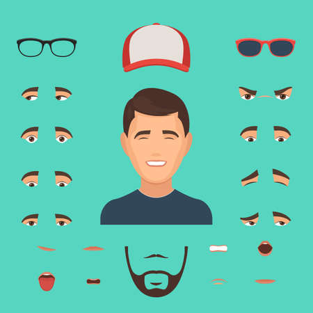 Man face emotions constructor elements: eyes, glasses, lips, beard, mustache. Avatar icon creator. Vector Illustration trendy flat design for web and printed materials Ilustração