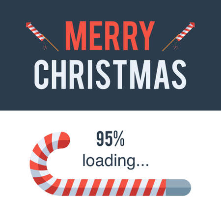 메리 크리스마스 로딩 바, 캔디 지팡이. 휴일 개념 기호입니다. 벡터 일러스트 레이 션 휴가 디자인 웹 배너 웹 사이트 또는 인사말 카드 일러스트
