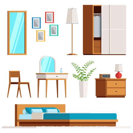 Muebles de dormitorio interior conjunto. Muestra de moda vector estilo plano aislado sobre fondo blanco