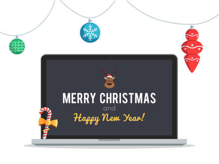 decorate notebook: Laptop with Christmas Greetings and New Year screen Christmas toys and balls. Vector illustration on white background for design holiday web banner or greeting card