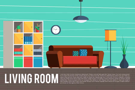 Living room interior design. Furniture objects, elements and equipment. Vector concept Illustration trendy flat graphic design for web banner and printed materials Stok Fotoğraf - 64330702