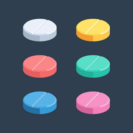Set of colored medical pills. Vector illustration