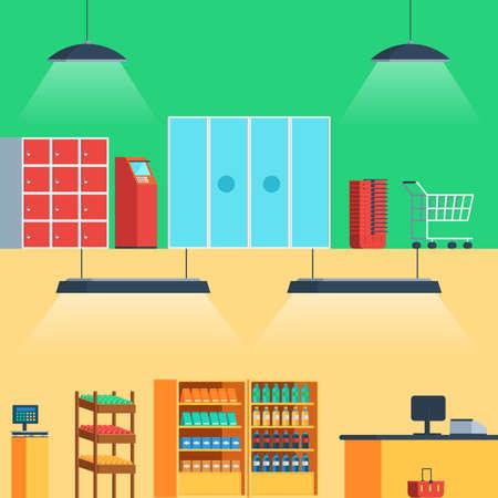 mujer en el supermercado: Tienda, supermercado interior: entrada, escaparate, frutas, verduras, bebidas, cajeros automáticos, carrito de la compra, pago y envío ilustración del vector en estilo plano para la web banners y de impresión