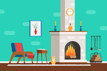 cozy: Living room interior with furniture: cozy armchair, fireplace, table, picture, clock, tools and the cat. Flat style vector illustration