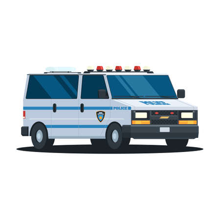 trooper: Van Police Department with flashing lights on the roof. Police car, vehicle in trendy flat design. Vector illustration isolated on white background