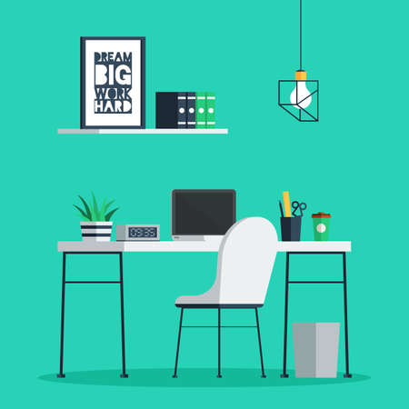 Vector   Workplace Freelance Interior With Laptop, Clock, Coffee Cup And  Plant On Desk, Home Office. Trendy Vector Illustration In Flat Design For  Web ...