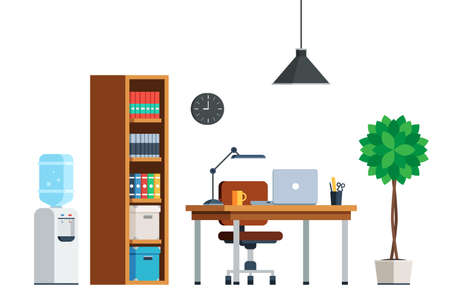 water cooler: Workplace interior furniture: desk, laptop, chair, bookcase, water cooler, tree, lamp, clock. Office theme web banner. Flat style trendy vector illustration isolated on white background