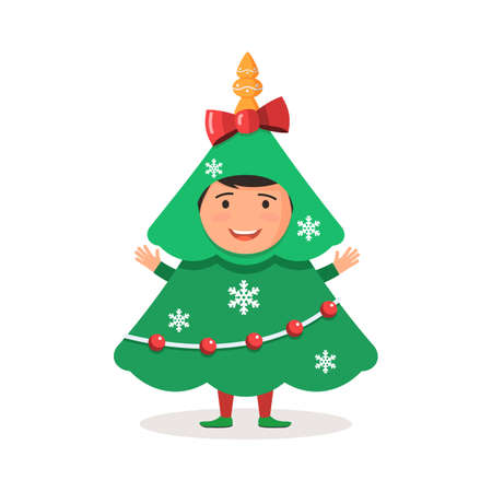 carnival costume: Cute kid carnival costume Christmas tree. Vector illustration in a cartoon style, template holidays for web banner design, flyer, poster or greeting card Illustration