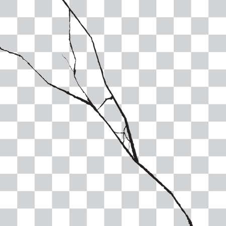 grieta de la pared realista. ruptura efecto áspero o superficie destrucción. Ilustración del vector aislado en el fondo a cuadros transparente para la bandera del diseño de la tela, el cartel o tarjeta de impresión