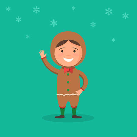 cartoon carnival: Cute kid in a Christmas costume gingerbread man and snowflake on background. New year carnival person. Vector illustration in cartoon style web design template holidays for banner, poster or greeting card