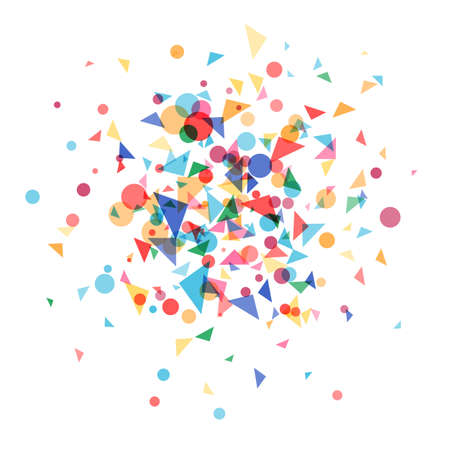 festively: Explosion cloud a festively colored confetti. Carnival background, blast coloured shapes.Vector illustration template web design for banner, poster or greeting card Illustration