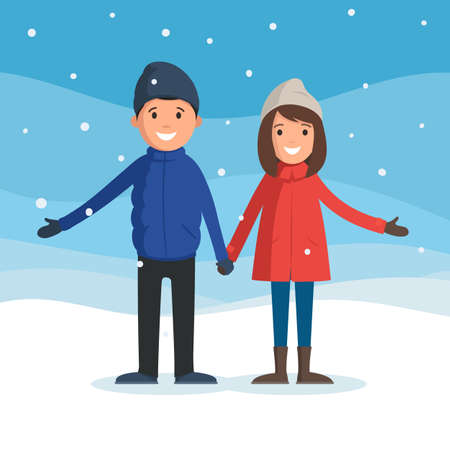 woman holding card: Man and woman holding hands. A couple enjoys the snowfall. People in winter landscape, winter fun. Vector illustration in cartoon style web design for banner, flyer, poster or greeting card