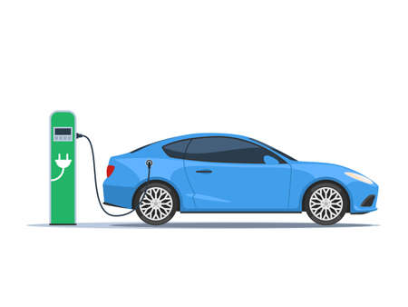Blue electric car and electric charger station. The concept of environmentally friendly fuel. Vector illustration in flat style isolated on white background