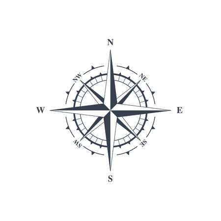 latitude: Compass sign, wind rose icon. Vector illustration isolated on white background Illustration