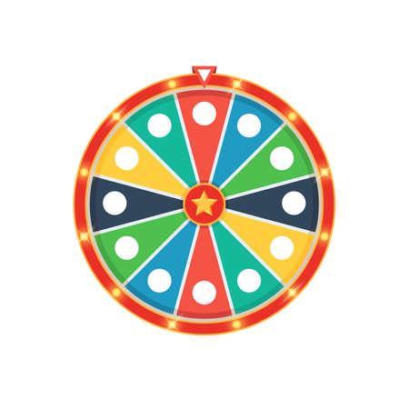 조명과 함께 다채로운 행운의 바퀴입니다. 흰색 배경에 고립 된 벡터 일러스트 레이 션 일러스트