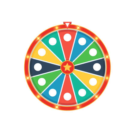 Colorful fortune wheel with lights. Vector illustration isolated on white background Çizim