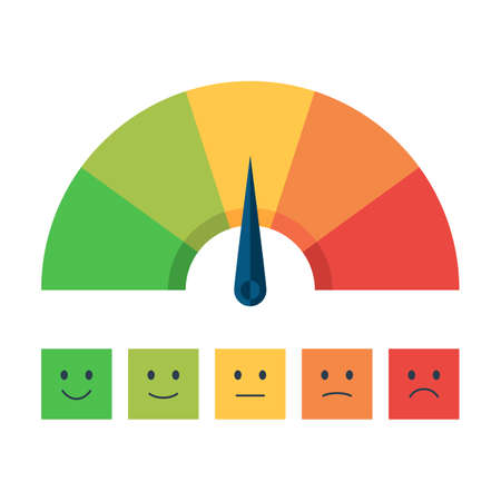 metro medir: Escala de colores con la flecha de rojo a verde y la escala de las emociones. El icono del dispositivo de medición: Muestra del tacómetro, velocímetro, indicadores. Ilustración del vector en estilo plano aislado en el fondo blanco