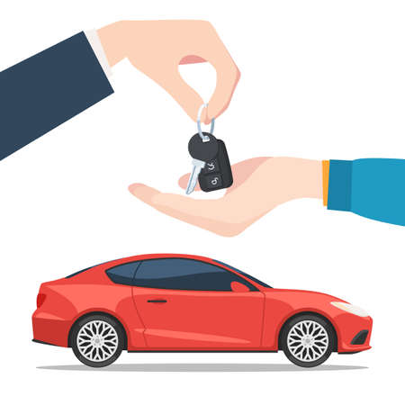 lease: Hand the seller gives the car keys to the buyer. Buying or renting the new red car. Vector illustration in trendy flat style isolated on white background for your web banner design or print marketing materials Illustration