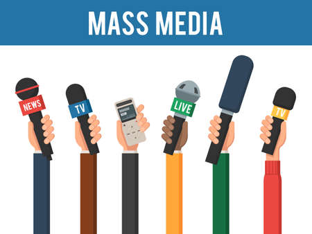 Hands with a MIC and recorder. Mass media interview concept. The reporters of news channels. Vector illustration in trendy flat style, isolated on a white background Vektoros illusztráció
