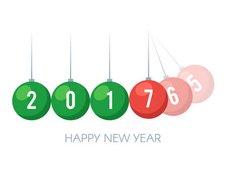 Happy New Year 2017. Colored balancing balls Newtons cradle with 2017 new year text. Holiday concept. Vector illustration template isolated on white background for web design or greeting card
