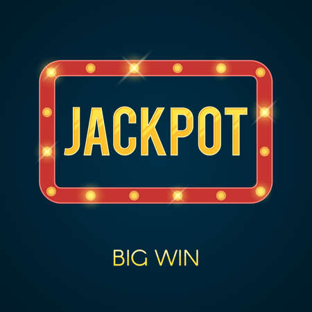 online roulette: Jackpot banner with glowing lamps. Shining lights on frame. Vector illustration template for poker, roulette, slot machines, cards, online casino, mobile game