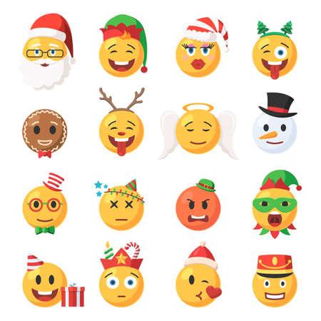 Satz von Weihnachten Emoticons Icons. Festliche Sammlung Zeichen Emoji Gesicht. Isolierte Vektor-Illustration im Cartoon-Stil auf weißem Hintergrund