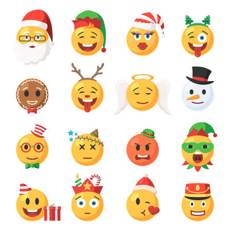 Set of Christmas Emoticons icons. Festive collection characters Emoji face. Isolated vector illustration in cartoon style on white background