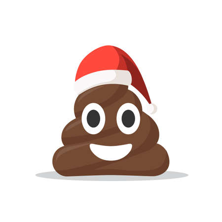 Emoji shit icon smiling face with Santa hat. Christmas concept symbol vector illustration in cartoon style isolated on white background Illustration