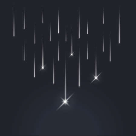 Shooting down stars, light of falling of a meteorite in the galaxy. Vector illustration cosmos