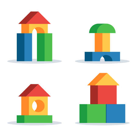 Colorful wooden blocks toy, set building game castle and house. Vector flat style illustration isolated on white background Vectores