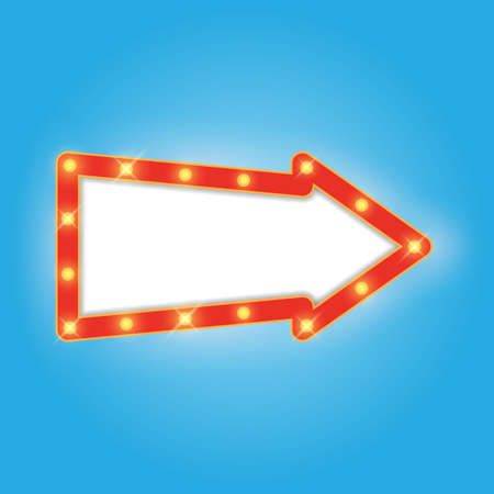 signboard form: Signboard in arrow form, retro style with lamps. Vintage banner with light bulbs. Neon glow frame. Vector illustration