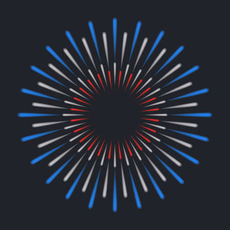 Starburst on dark background. Explosive colourful red, blue and white firework. Holiday firework template. Vector illustration