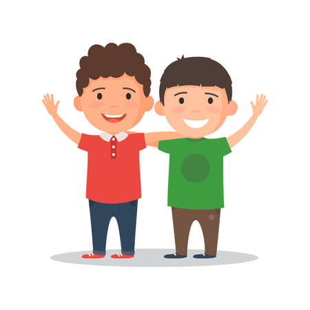 Two boys smiling, hugging and waving their hands. Happy kids best friends. Vector illustration in cartoon style isolated on white background Çizim