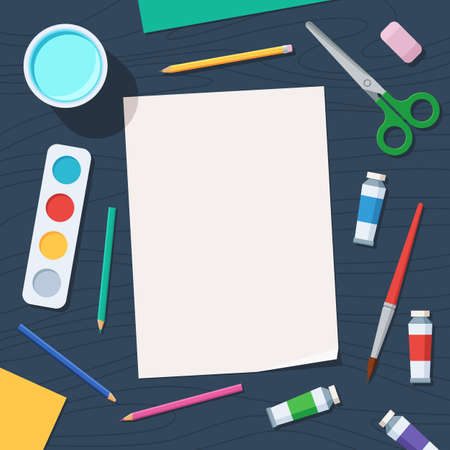 paintbox: Tools for creative work. Watercolor paintbox and paintbrush, colored pencils. Paper and drawing materials on the table. Overhead view. Vector illustration flat style, top view Illustration