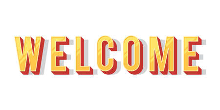 open type font: Welcome inscription. Vector illustration isolated on white background