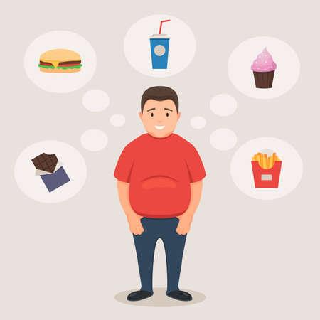 Hombre gordo sonríe y alimentos poco saludables Ilustración de vector