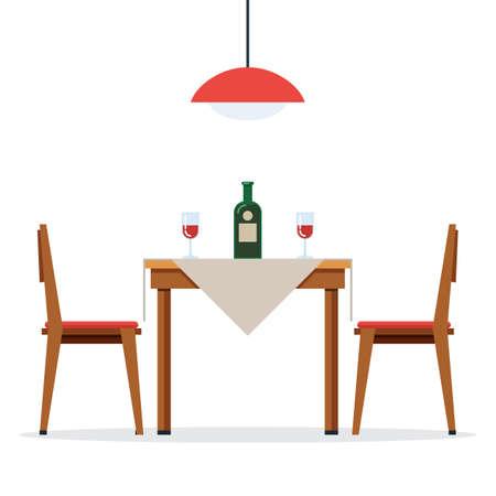 와인과 함께 식탁과 의자 일러스트
