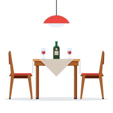 Dining table and chairs with wine Illustration