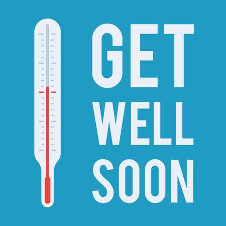 Medische thermometer en wens komen snel binnen Vector Illustratie
