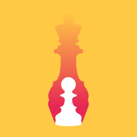 Chess pawn dropping shadow of queen