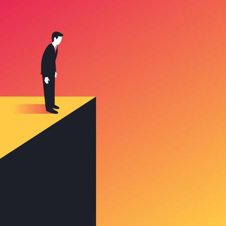 Hombre de negocios de pie en el borde Ilustración de vector